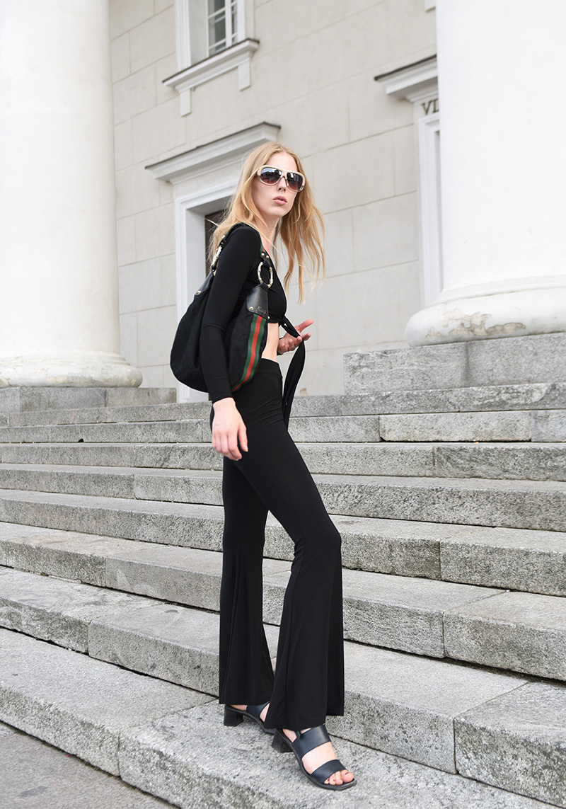 ivo blog -- femme luxe finery - black outfit - flare trousers